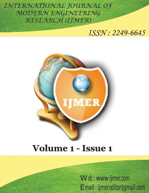 ISSN : 2249-6645 Volume 1 - Issue 1 - ijmer