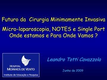 Futuro da Cirurgia Minimamente Invasiva Micro-laparoscopia ... - IJP
