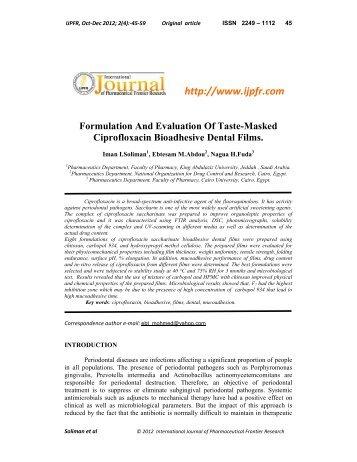 Formulation And Evaluation Of Taste-Masked Ciprofloxacin ...