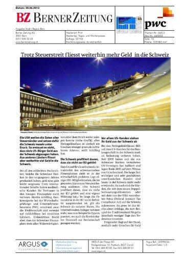Trotz Steuerstreit fliesst weiterhin mehr Geld in die Schweiz - PwC