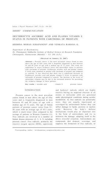 Erythrocyte Ascorbic Acid and Plasma Vitamin E Status in Patients ...