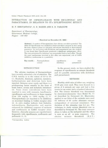 INTERACTION OF CIPROFLOXACIN WITH DICLOFENAC AND ...