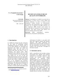 review of literature on quality of worklife - International Journal of ...