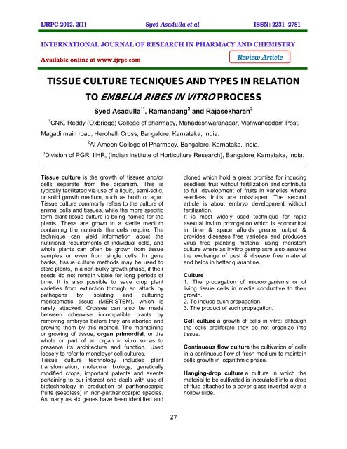 tissue culture tecniques and types in relation to embelia