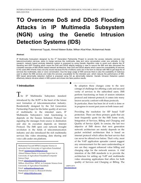 TO Overcome DoS and DDoS Flooding Attacks in IP Multimedia