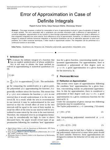 Error of Approximation in Case of Definite Integrals - International ...