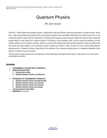 Quantum Physics - International Journal of Scientific and ...