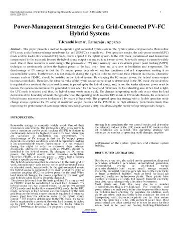 power-management strategies for a grid-connected pv-fc hybrid