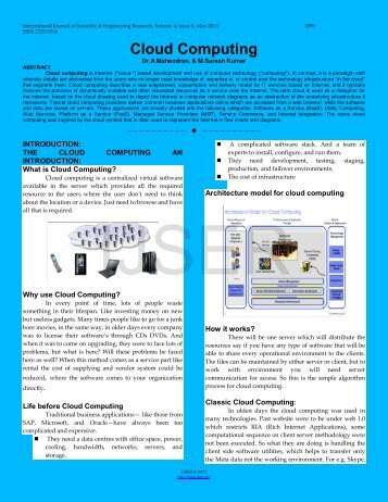 Cloud Computing - International Journal of Scientific and ...
