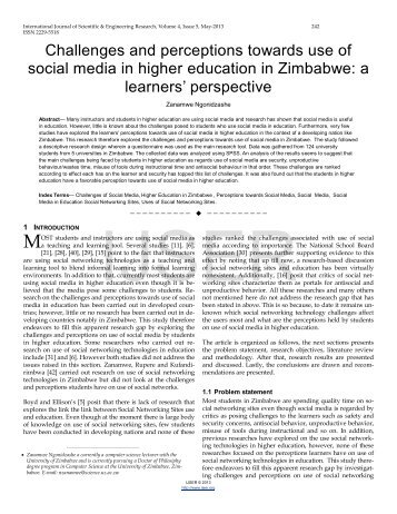 Challenges and perceptions towards use of social media in higher ...
