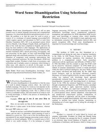 Word Sense Disambiguation Using Selectional Restriction - Ijsrp.org