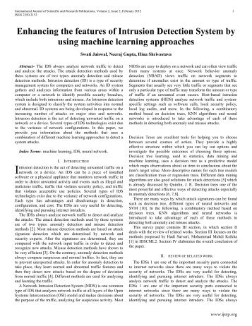 project intrusion detection technique for wireless International journal of computer applications (0975 – 8887) volume 78 – no16, september 2013 30 survey on intrusion detection system using machine learning techniques.