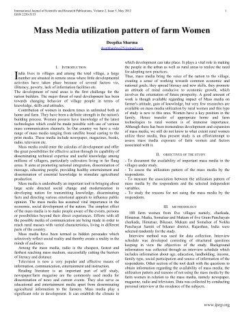 Mass Media utilization pattern of farm Women - Ijsrp.org