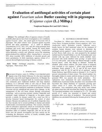 Evaluation of antifungal activities of certain plant against ... - Ijsrp.org