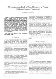 A Sociolinguistic Study of Vowel Harmony in Persian ... - ijssh