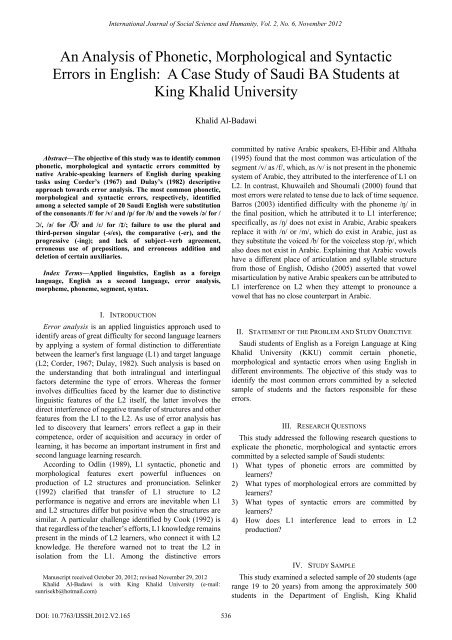 An Analysis of Phonetic, Morphological and Syntactic Errors     - ijssh