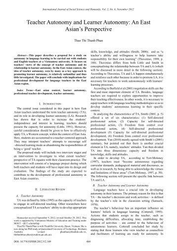 Teacher Autonomy and Learner Autonomy: An East Asian's ... - ijssh