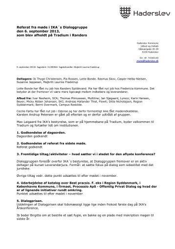 Referat fra møde i IKA´s Dialoggruppe den 6. september ... - IKA.dk