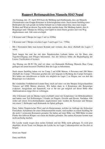 Rapport Rettungsaktion Manaslu 8163 Nepal - IKAR-CISA