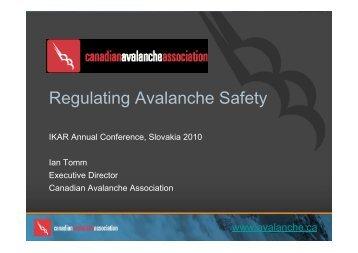 Regulating Avalanche Safety - IKAR-CISA