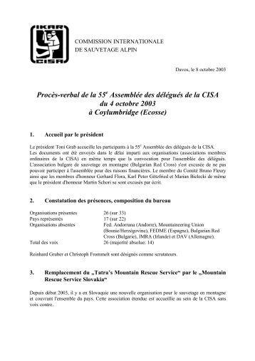 Procès-verbal de la 55e Assemblée des délégués de la ... - IKAR-CISA