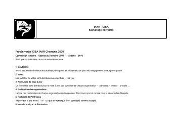 IKAR - CISA Sauvetage Terrestre Procès-verbal CISA IKAR ...