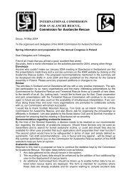 INTERNATIONAL COMMISSION FOR AVALANCHE ... - IKAR-CISA
