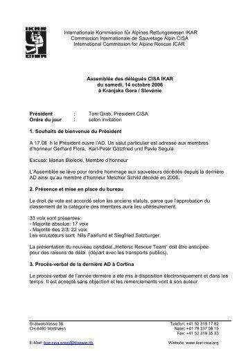 Internationale Kommission für Alpines Rettungswesen ... - IKAR-CISA