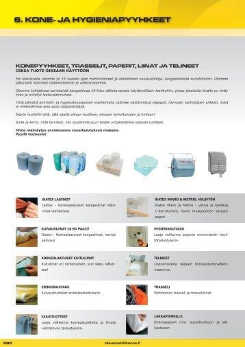 6. kone- ja hygieniapyyhkeet