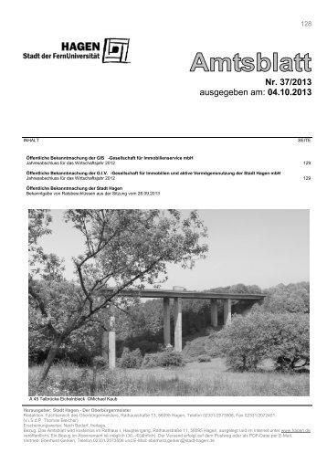 Amtsblatt Nr. 37/2013 vom 04.10.2013 - Hagen