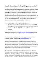 """Ausschreibung: Stipendien für """"Visiting artist researcher"""""""