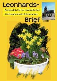 Gemeindebrief 1-2013 - Evangelische Kirchengemeinde ...