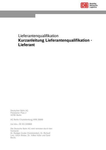 Kurzanleitung Lieferantenqualifizierung - Deutsche Bahn AG