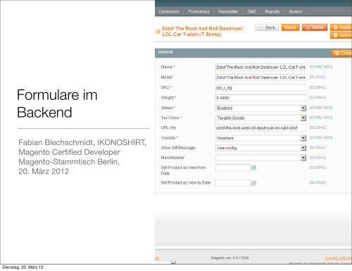 Formulare im Backend - Fabian Blechschmidt