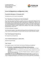 Forum für Migrantinnen und Migranten in Kiel - Landeshauptstadt Kiel