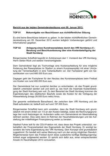Gemeinderatssitzung 01 vom 09.01.2013 ... - Hornberg