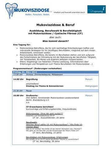 Mukoviszidose & Beruf - Mukoviszidose e.V.