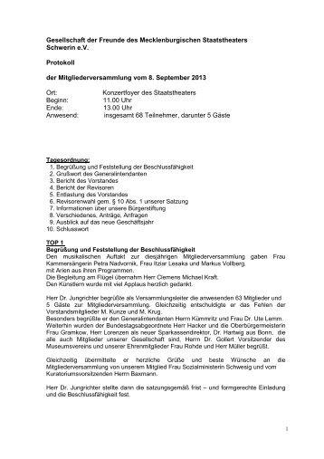 Protokoll Mitgliederversammlung 2013 - Mecklenburgisches ...