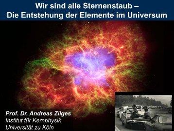 Wir sind alle Sternenstaub Die Entstehung der Elemente
