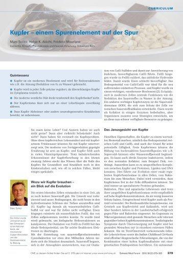 Kupfer – einem Spurenelement auf der Spur - Swiss Medical Forum