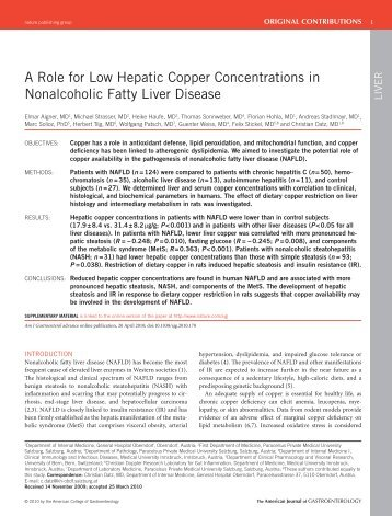 A Role for Low Hepatic Copper Concentrations in Nonalcoholic ...