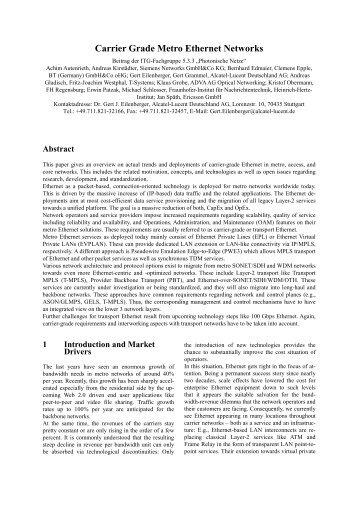 Carrier Grade Metro Ethernet Networks - IEEE Xplore