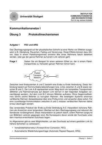 Übung 3 Kommunikationsnetze I Protokollmechanismen - Institut für ...