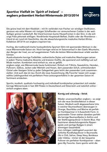 Spirit of Ireland´ – engbers präsentiert Herbst-Wintermode 2013/2014