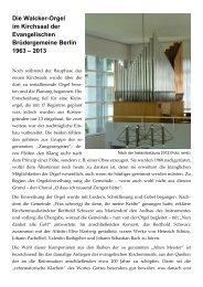 Brandes, Geschichte der Walcker - Orgel - Herrnhuter in Berlin…