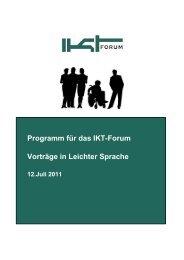 Programm für das IKT-Forum: Vorträge in Leichter Sprache