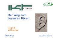 Vortragsunterlagen zu ´Besseres Hoeren - IKT Forum