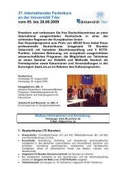 37. Internationaler Ferienkurs an der Universität Trier vom 05. bis ...