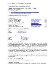 Istanbul Kültür University ECTS Guide 2008/2009 Department of ...