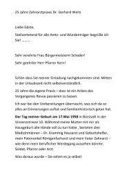 klicken, um die Rede von Dr. Gerhard Weitz zu lesen. - Zahnarzt Dr ...